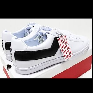 PONY Top Star Men's White Black Leather Low Top